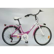 """Ferrini Jasmine Lady 26"""" 45 Cm-es Ciklámen-fehér Női Trekking Kerékpár"""