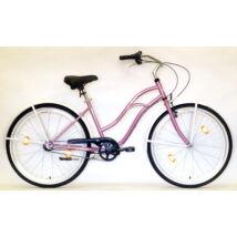"""Hauser 26"""" 3seb acél 18"""" rózsaszín női Cruiser kerékpár"""