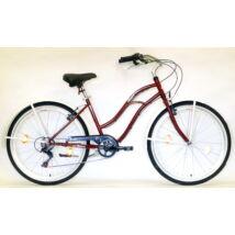 """Hauser 26"""" 6seb acél 18"""" bordó női Cruiser kerékpár"""