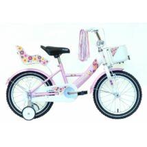 """Hauser Bmx16"""" Swan Fehér/Rózsaszín Kosárral És Babaüléssel Gyerek Kerékpár"""