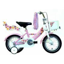 """Hauser BMX12"""" Swan fehér/rózsaszín kosárral és babaüléssel Gyerek Kerékpár"""