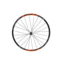 KTM Fűzött Kerék Swiss R 24 Spline Disc Front, Centerlock,  hub black, 100mm, 15mm TA,  tubeless, black/orange