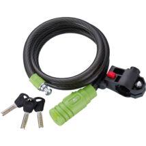 MERIDA Lakat SPIRÁL 120cm x 10mm fekete/zöld, kulcsos - 2112
