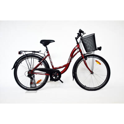 """Trans Montana City 28"""" acél 6 sebességes női City kerékpár bordó"""