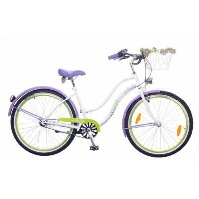 Neuzer Picnic női Cruiser Kerékpár fehér/lila-zöld