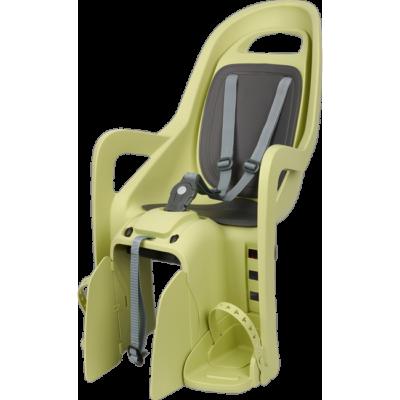 Polisport hátsó gyerekülés Groovy Maxi FF 29, kis méretű és 29-es vázra szerelhető világoszöld-szürke