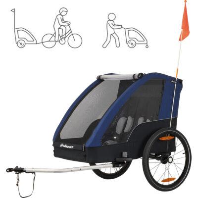 Polisport gyerek utánfutó max 2 gyermek szállítására, rugós lengéscsillapítás, 2 kerékpár adapterrel a csomagban, futó-szett nélkül